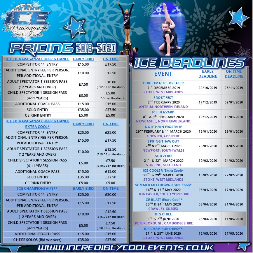 ICE Extravaganza Cheer & Dance Events Pricing and Deadlines for 2019-2020 Season