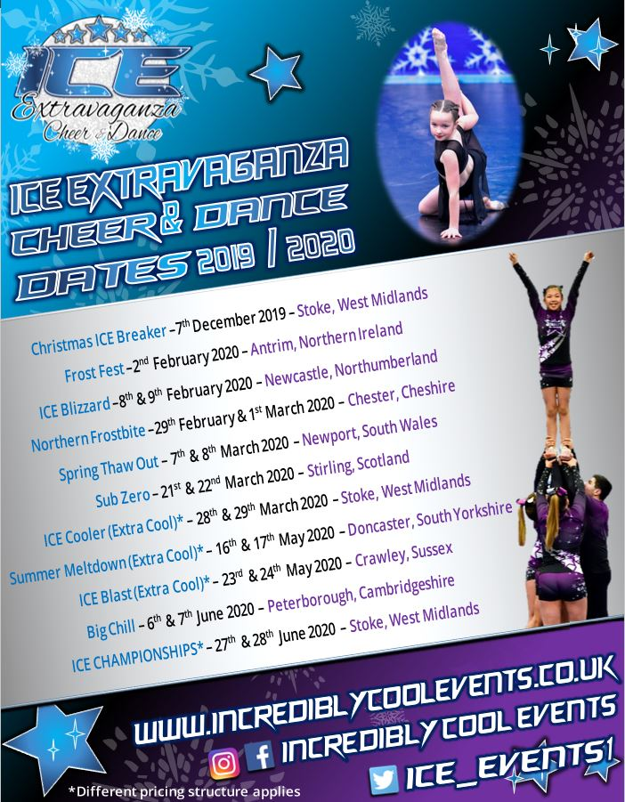 ICE Extravaganza Cheer and Dance Event Dates 2019-2020 Season