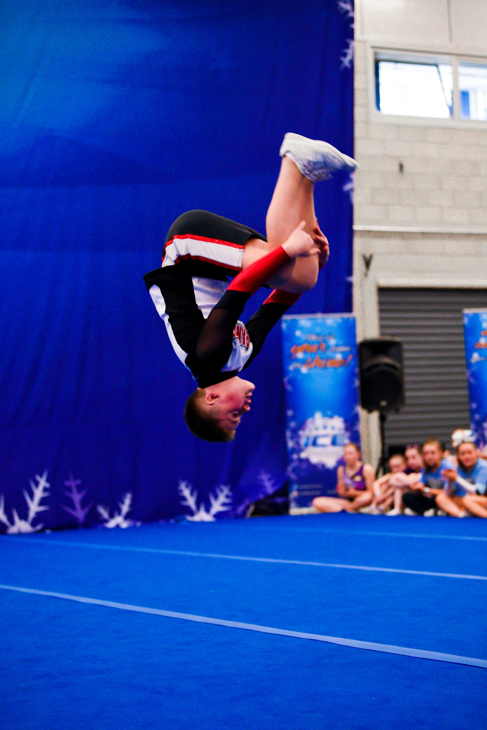 A cheer soloist competes at Incredibly Cool Events