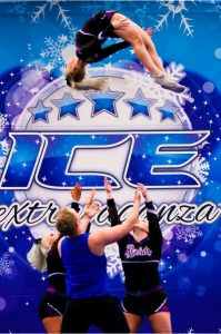 A cheer team execute a basket toss at an ICE Extravaganza Cheer & Dance event
