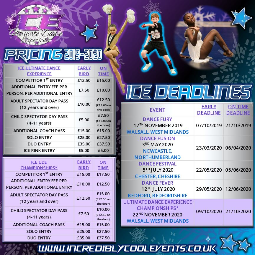 ICE Ultimate Dance Experience Events Pricing and Deadlines for 2019-2020 Season